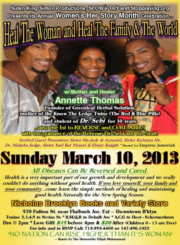 Sunday March 10, 2013: Don't Miss The Annual Women's Her Story Month Celebration
